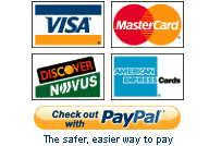 We Accept Visa, Mastercard, American Express, Discover, and Paypal